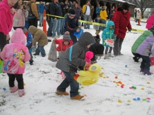 easter egg hunt in snow