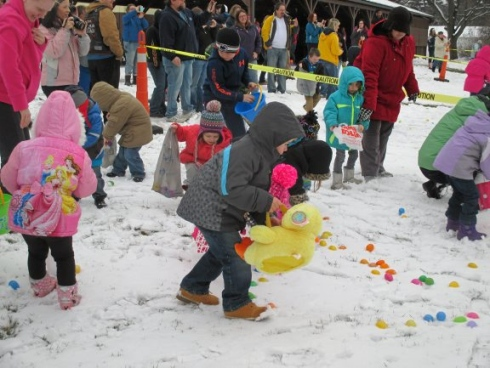 easter egg hunt in snow